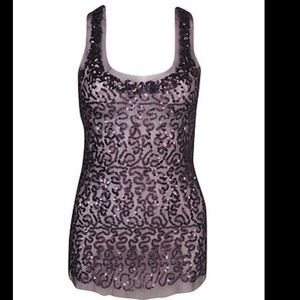 Forever 21 Sleeveless navy sequin top/see-through